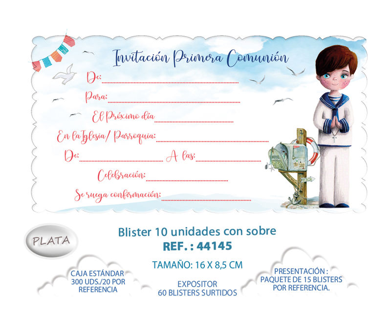 BLISTER / 10 INVITACION + SOBRE COMUNION NIÑO BUZON