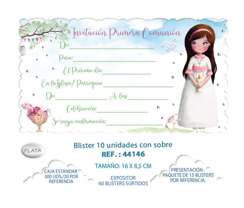 BLISTER / 10 INVITACION + SOBRE COMUNION NIÑA ARBOL