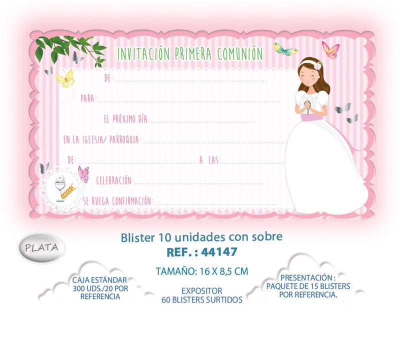 BLISTER / 10 INVITACION + SOBRE COMUNION NIÑA MARIPOSAS