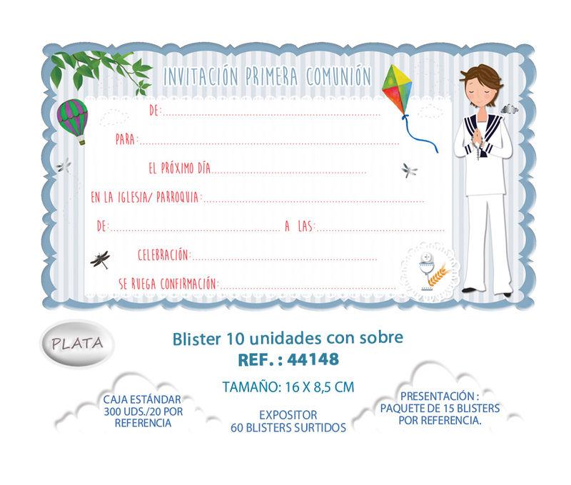 BLISTER / 10 INVITACION + SOBRE COMUNION NIÑO COMETA
