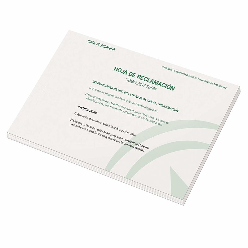 LIBRO DE RECLAMACIONES ANDALUCIA R: 9996