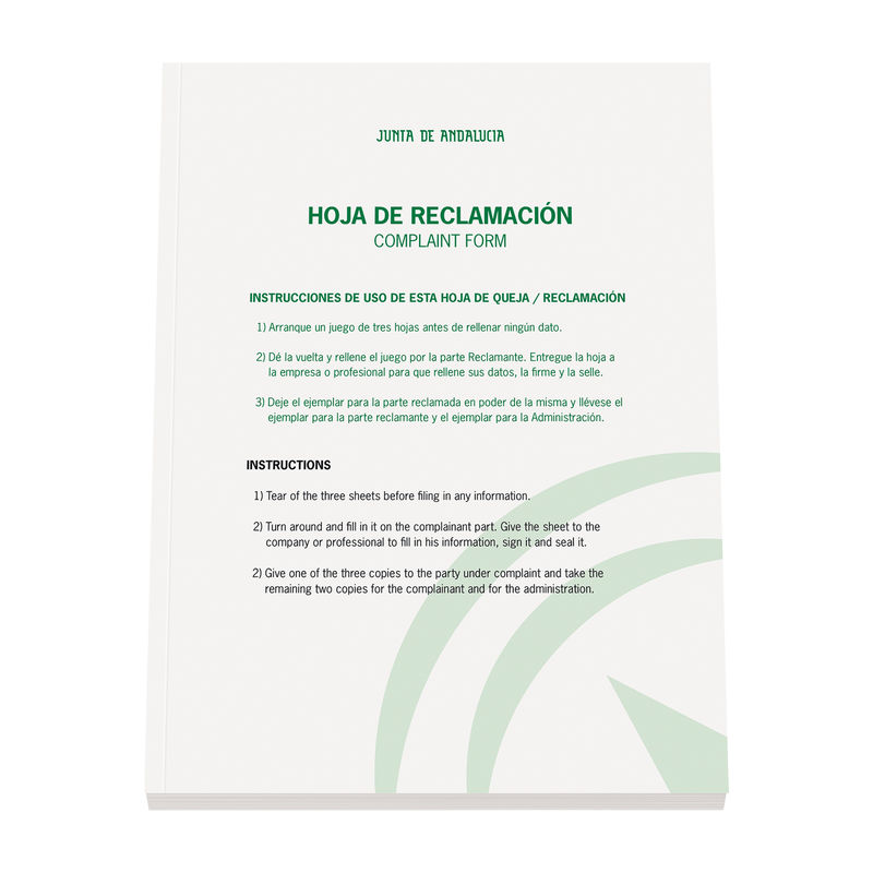 LIBRO DE RECLAMACIONES ANDALUCIA (NUEVO)
