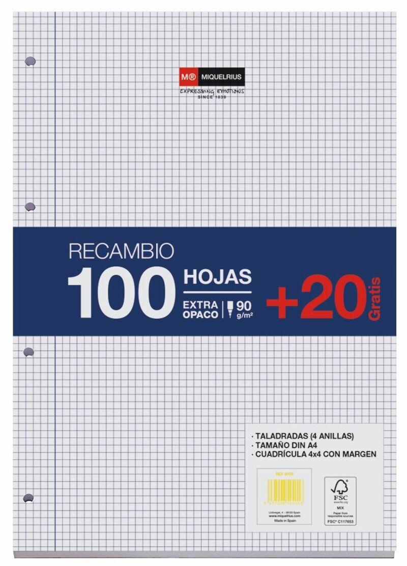 RECAMBIO A4 100H+20H CUAD.4x4 4 TAL. 90gr