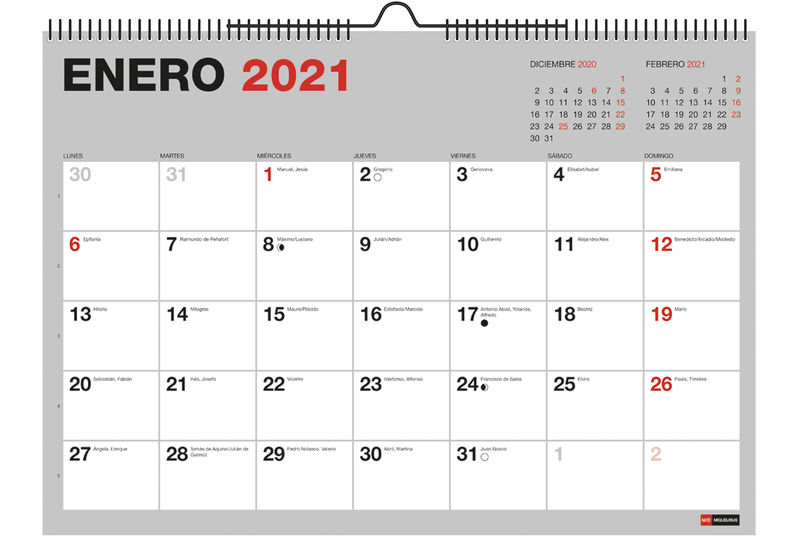 2021 * CALENDARIO 18M PARED A3