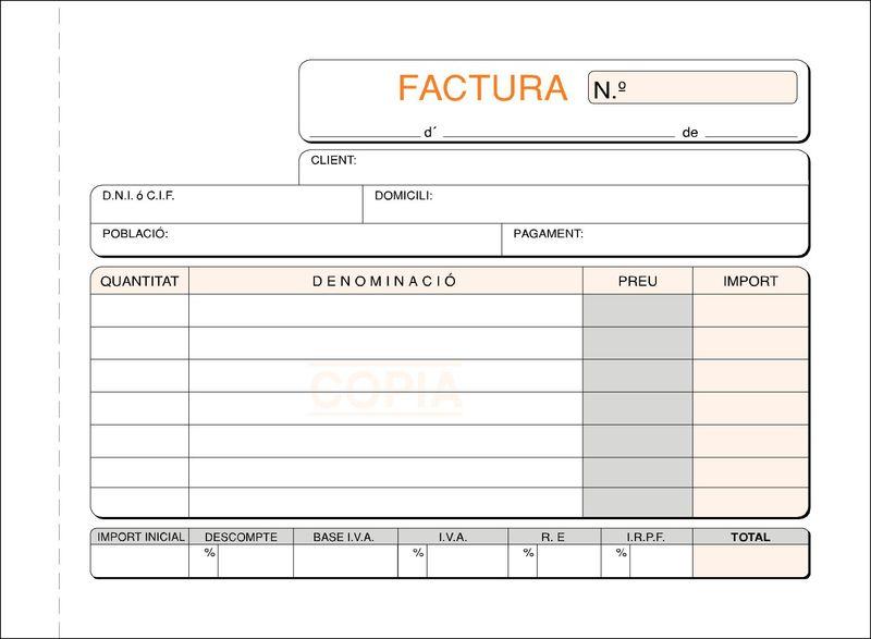 C / 10 FACTURES 8º APDES PAPER QUIMIC DUPLICAT CATALA