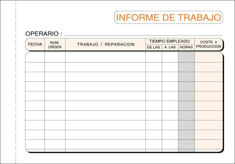 C / 10 TALONARIO INFORME TRABAJO 1 / 8 APDO-DUPLICADO AUTOCOPIANTE
