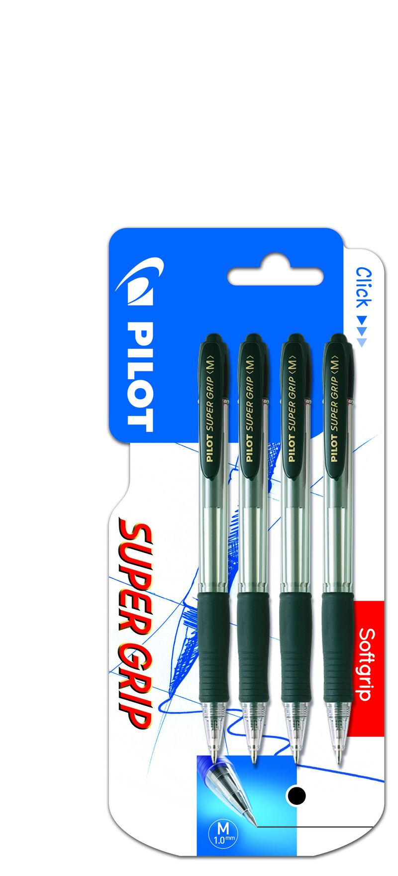 BLISTER SUPER GRIP BOLIGRAFO RETRACTIL. TINTA BASE ACEITE (4 UDS) 4 NEGROS