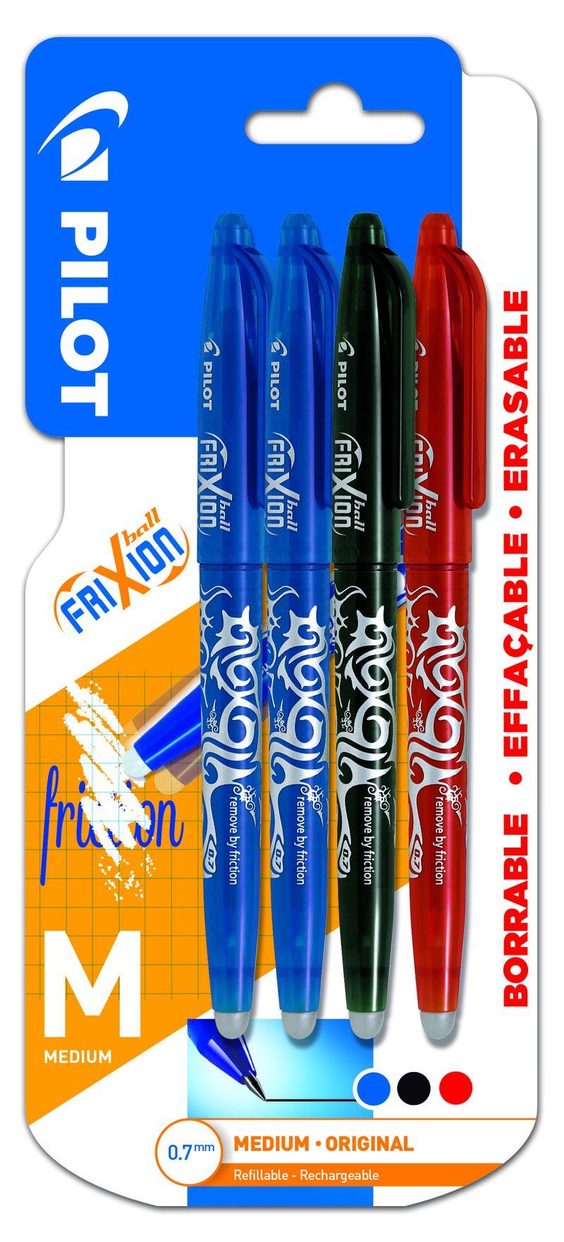 BLISTER FRIXION BALL BOLIGRAFO BORRABLE. COLOR DE TINTA AZUL / AZUL / NEGRO / ROJO