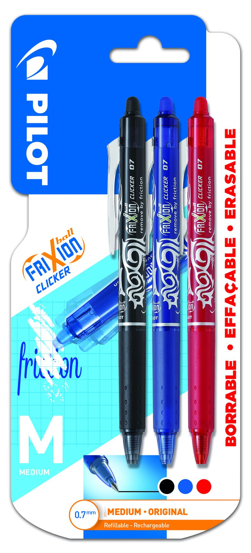 BLISTER FRIXION CLICKER. BOLIGRAFO BORRABLE RETRACTIL. COLOR DE TINTA NEGRO / AZUL / ROJO