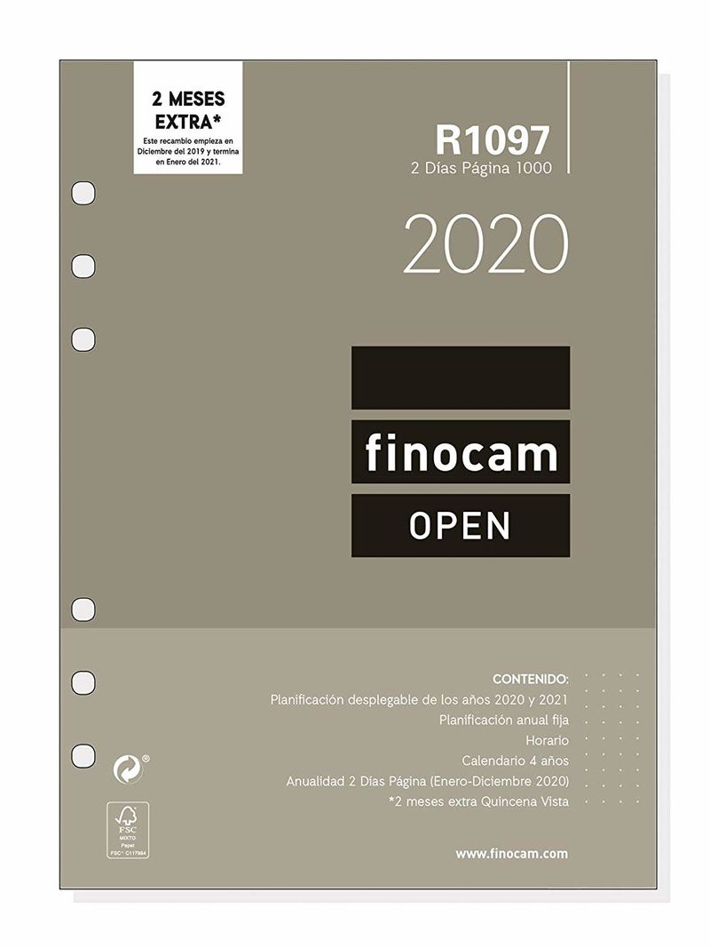 2020 * RECAMBIO ANUALIDAD R1097 AGENDA ANILLAS OPEN 2000 2DP