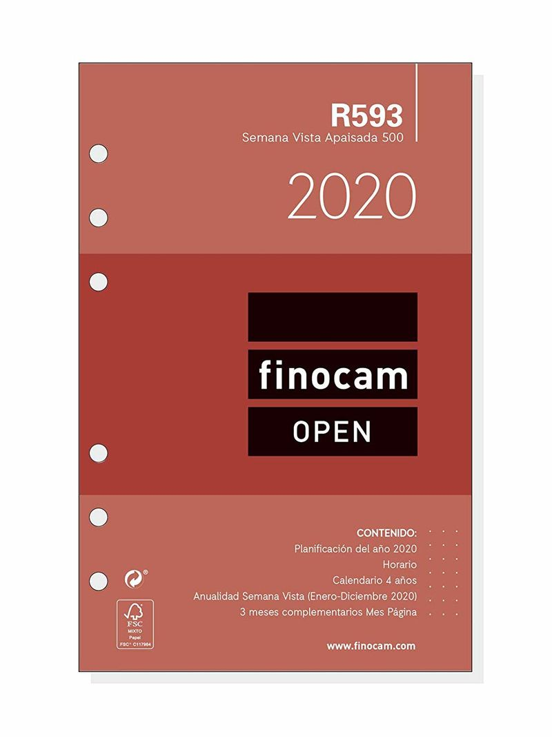 2020 * RECAMBIO ANUALIDAD R593 AGENDA ANILLAS 500 SV APAISADA