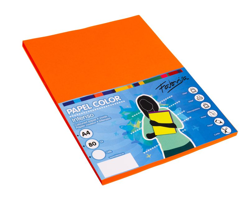 Paq / 100 Papel 80g A4 Naranja -