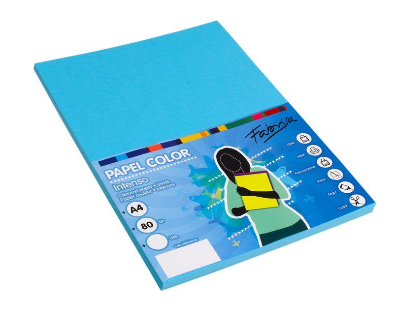 Paq / 100 Papel 80g A4 Azul Turquesa -