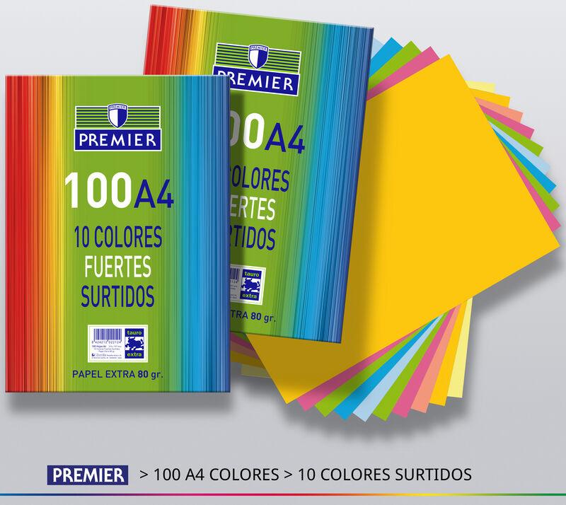 PAQ / 100H A4 80gr COLORES FUERTES
