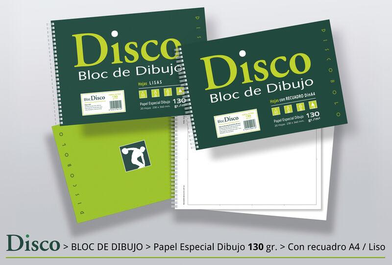 PAQ / 10 BLOC DIBUJO DISCO FOLIO PROL. REC. A4 2 TAL. 20H ENCOLADO 130gr