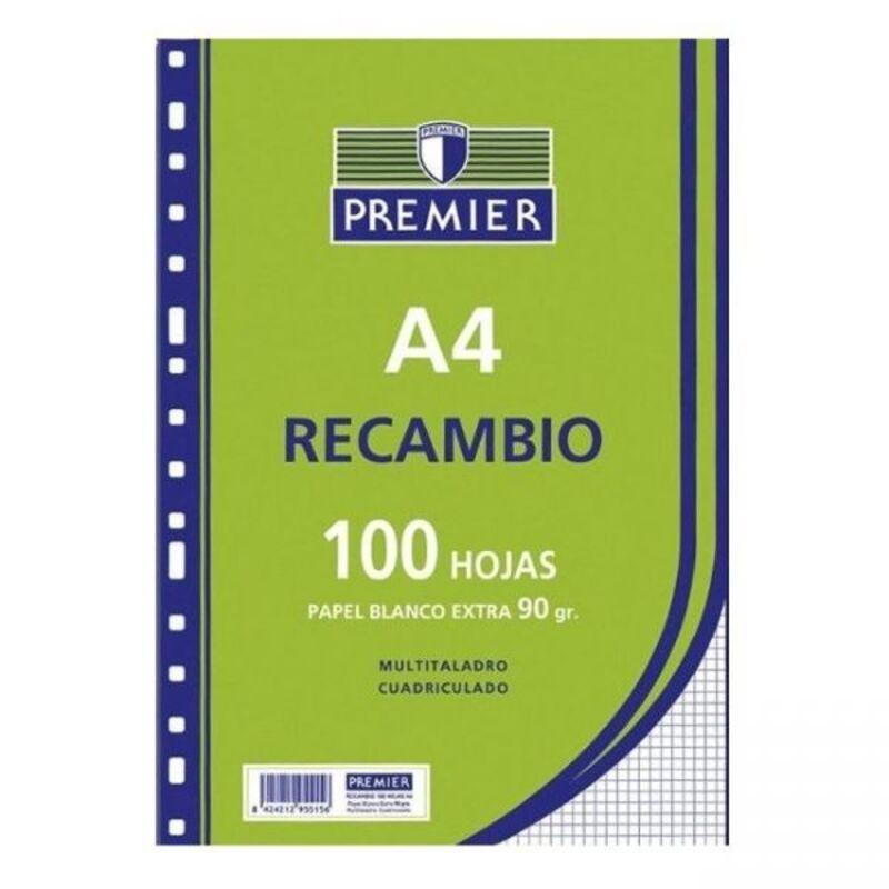 RECAMBIO PREMIER 100H A4 90GR CUAD.5X5 4 TALADROS