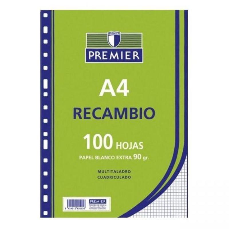 RECAMBIO PREMIER 100H A4 90gr CUAD.3x3 4 TALADROS