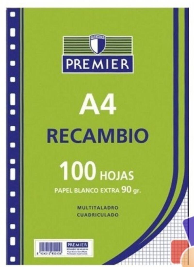 RECAMBIO PREMIER 100H A4 90gr CUAD.4x4 4 TALADROS
