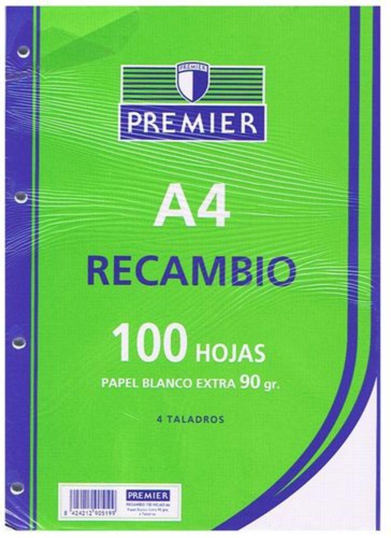 RECAMBIO PREMIER 100H A4 90gr MILIMETRADO