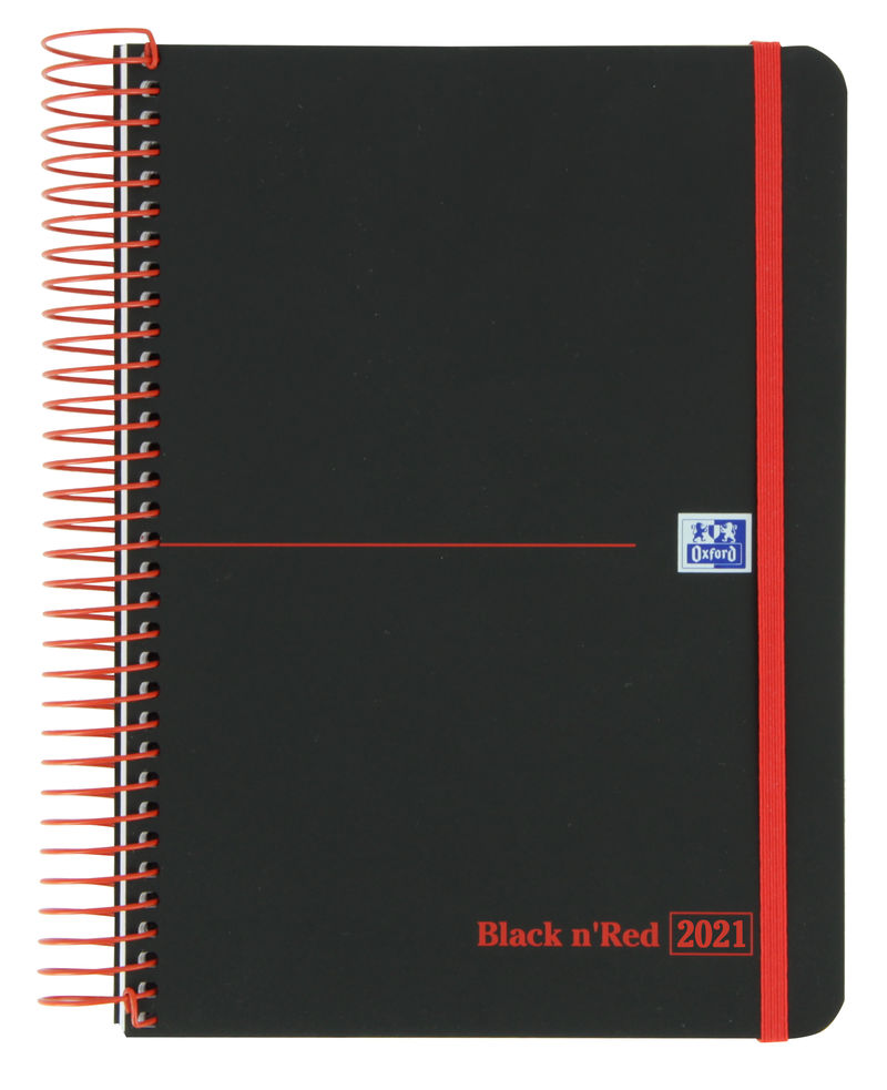 AGENDA ANUAL 2021 OXFORD BLACK N' RED A5 DIA PAGINA CASTELLANO