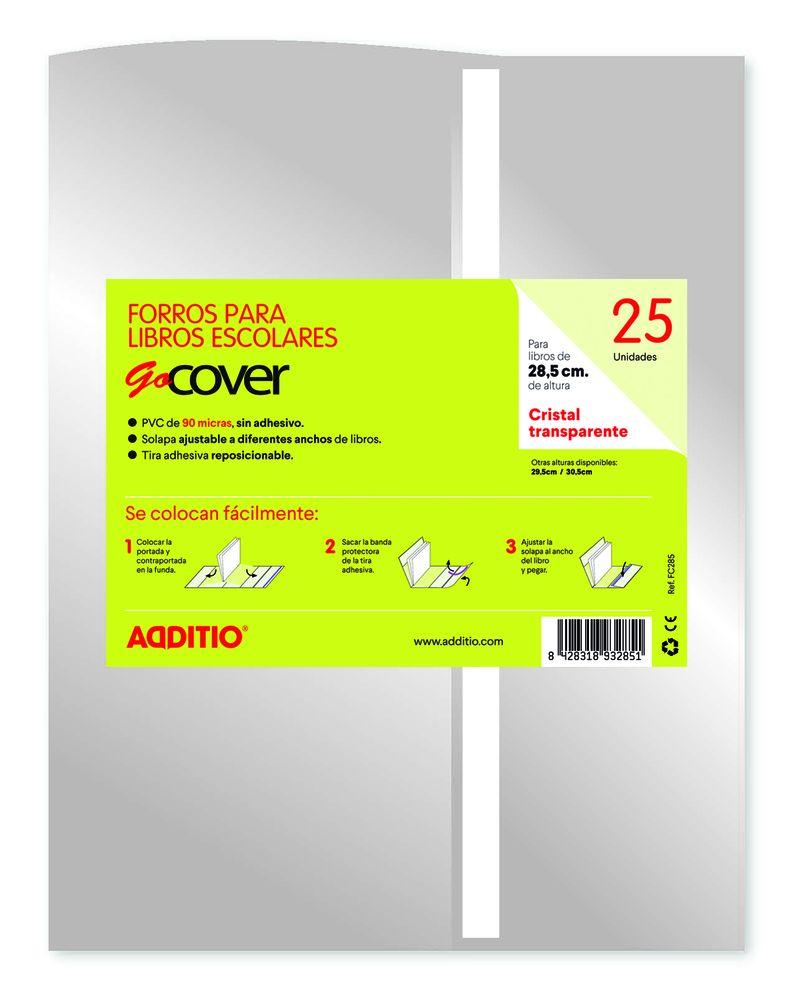 PAQ / 25 FORROS LIBROS GOCOVER CRISTAL 28, 5CM R: FC285