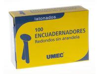 C / 100 ENCUADERNADORES SIN ARANDELA 12MM REDONDO Y LATONADO R: 129042