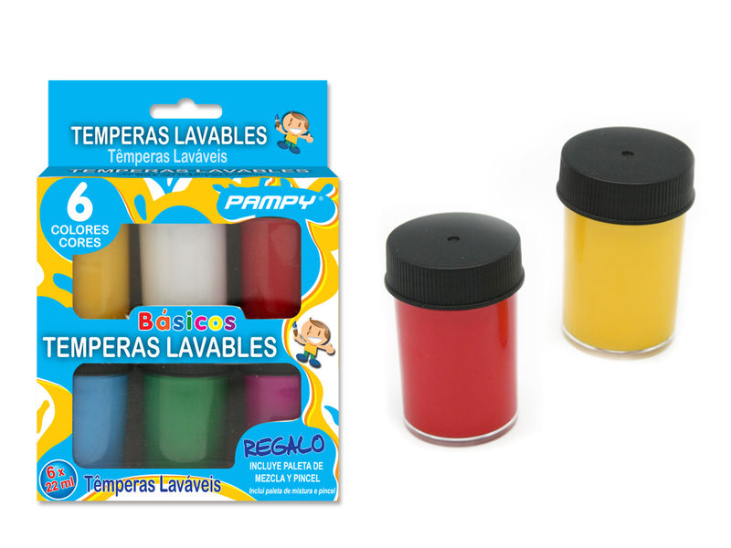 SET 6 TEMPERAS 22ml LAVABLES COLORES BASICOS R: 321699