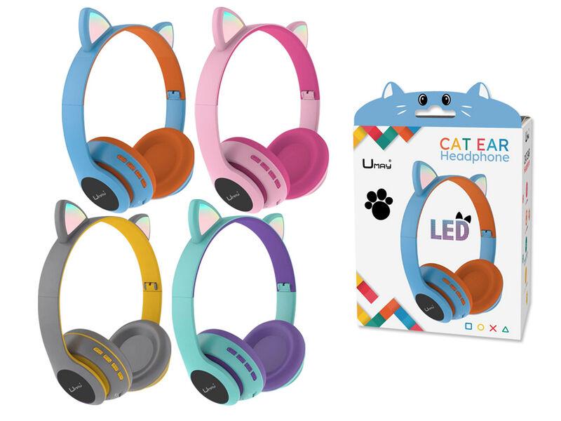 AURICULARES BLUETOOTH CAT EARS CON MICROFONO Y LUZ
