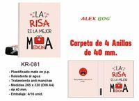 CARPETA 4 ANILLAS 40mm A4 LA RISA ES LA MEJOR MEDICINA R: KR081