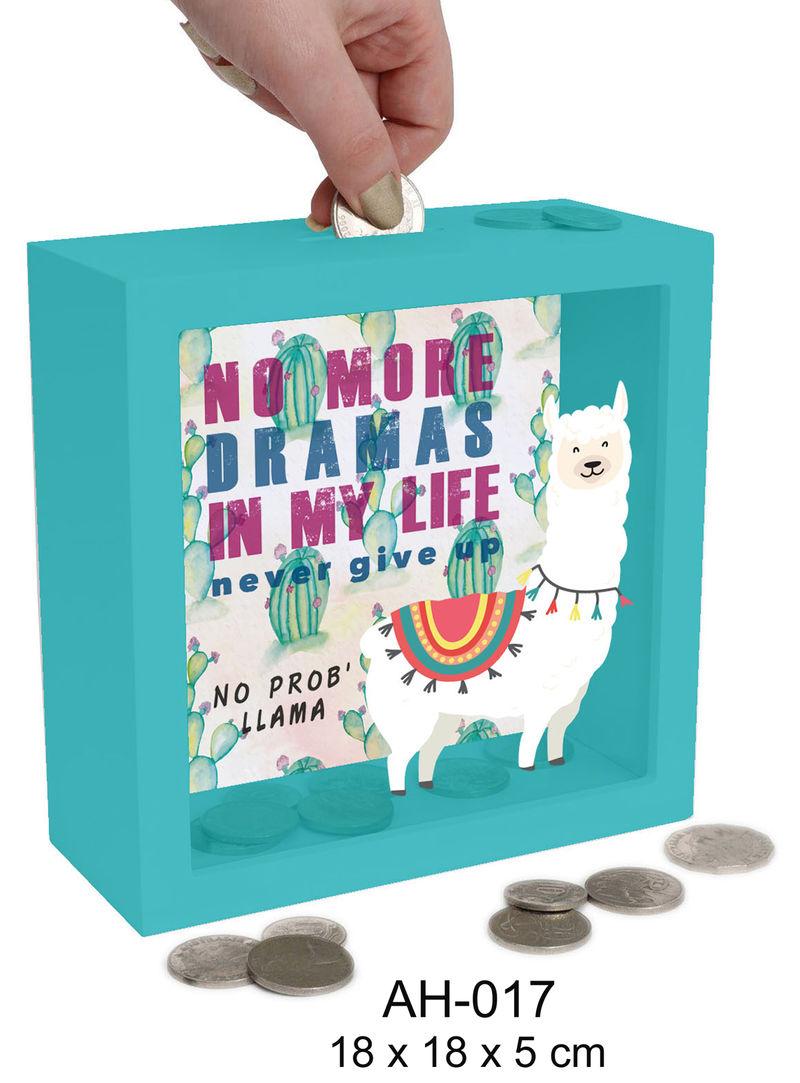 HUCHA MONEY BANK MADERA NO MORE DRAMAS. .. LLAMA