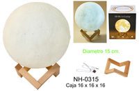 LAMPARA LUZ 15cm MOON LIGHT DECORADA 3 COL. R / C USB R: NH-0315