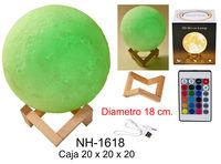 LAMPARA LUZ 18cm MOON LIGHT DECORADA 16 col. - USB R: NH-1618