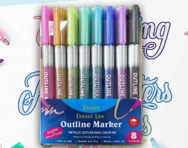 SET 8 ROTULADORES OUTLINER BICOLOR NEON PASTEL