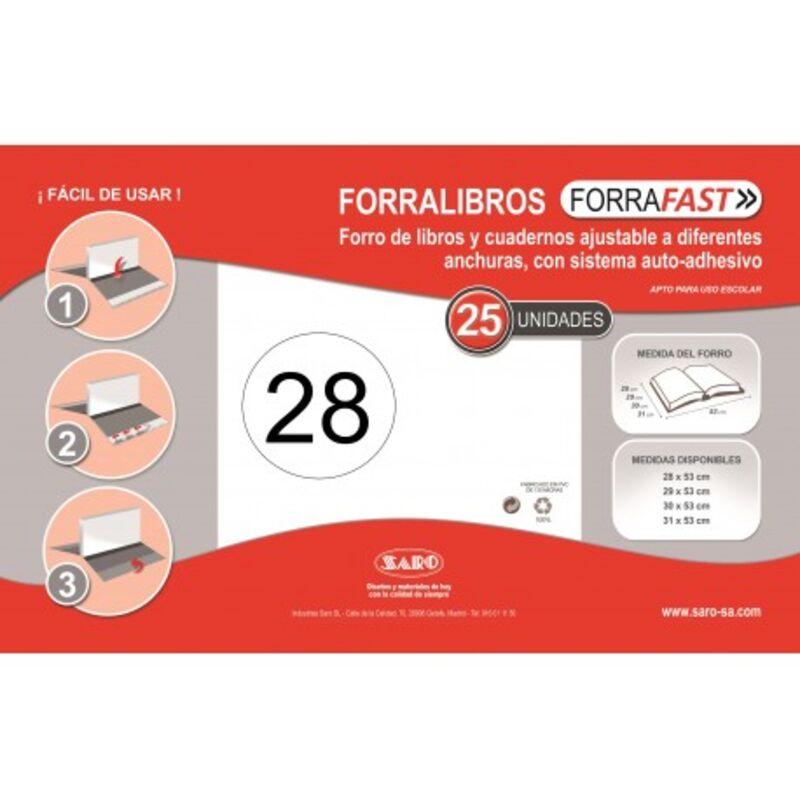 C / 25 FORRALIBROS SOLAPA AJUSTABLE 28CM