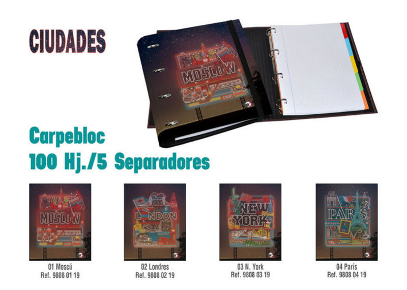 CIUDADES PARIS * CARPEBLOC 100H 5 SEPARADORES A4 R: 98080419