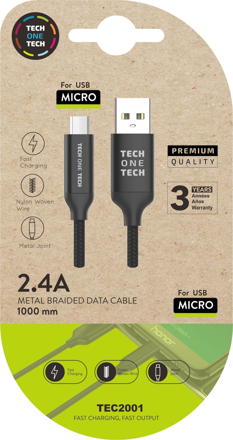 CABLE MICRO USB ANDROID NEGRO 1M 2A ALTO RENDIMIENTO