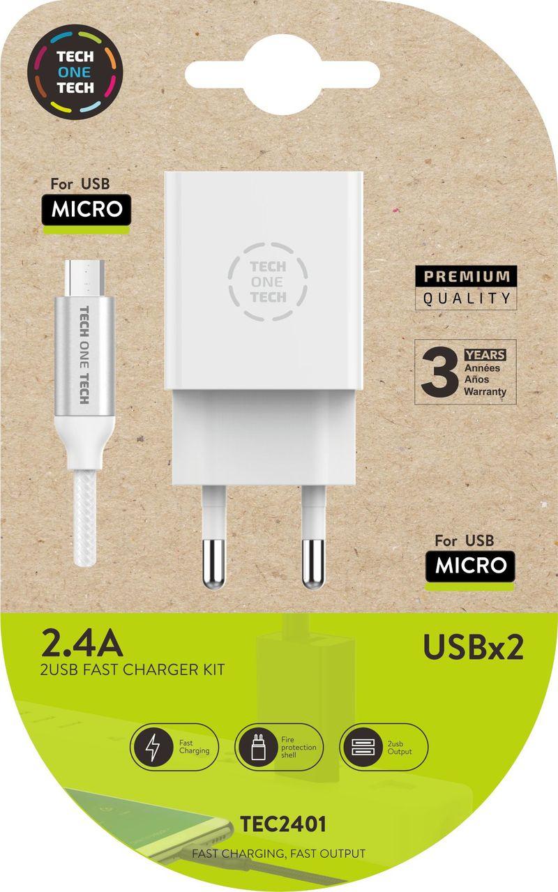 CARGADOR DOBLE + CABLE MICRO USB ANDROID BLANCO 2, 4 A ALTO RENDIMIENTO