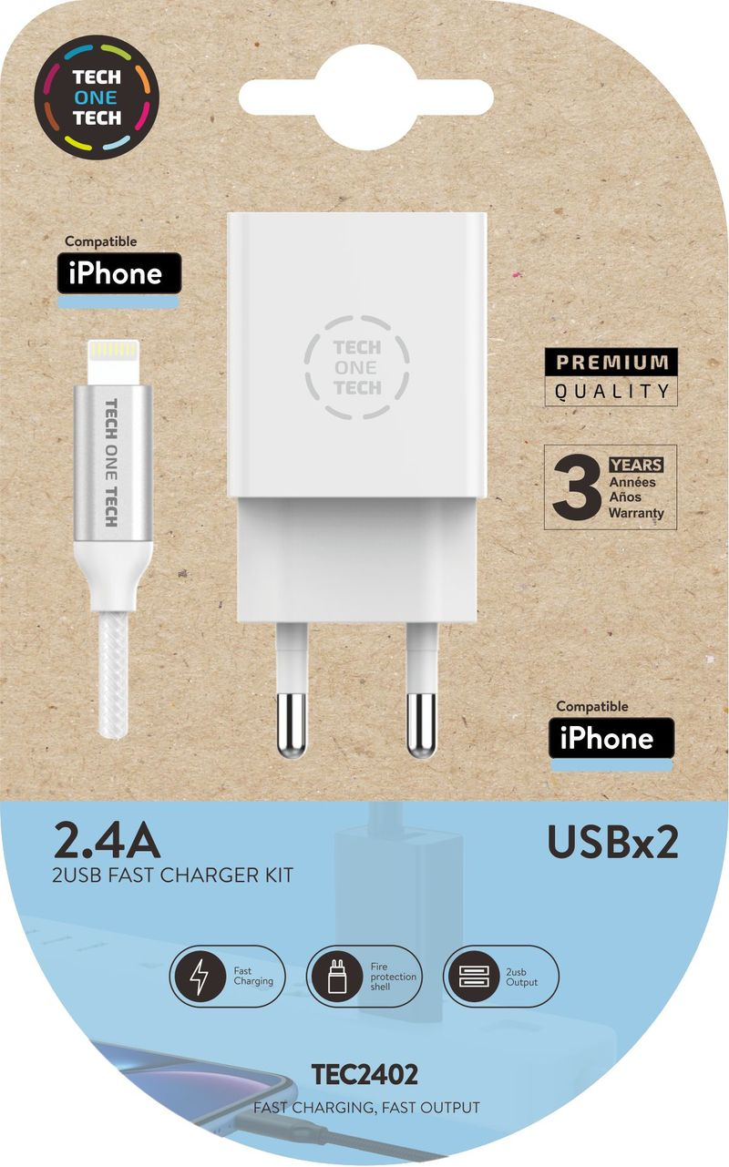 CARGADOR DOBLE + CABLE APPLE IPHONE BLANCO 2, 4A ALTO RENDIMIENTO