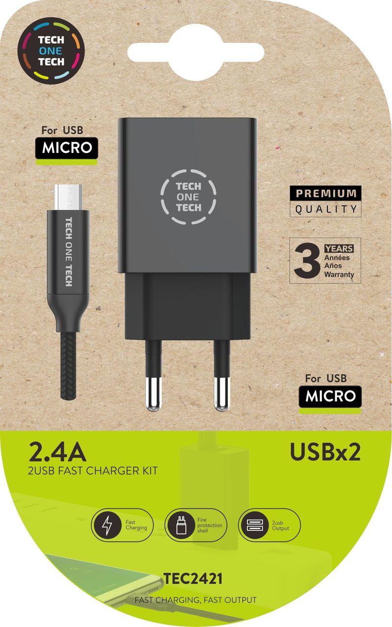 CARGADOR DOBLE + CABLE MICRO USB ANDROID NEGRO 2, 4A ALTO RENDIMIENTO
