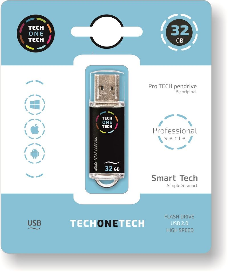PRO TECH * MEMORIA USB 32GB 2.0 NEGRO
