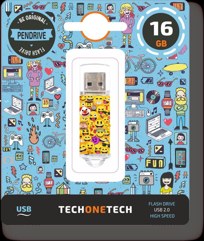 BE ORIGINAL * MEMORIA USB 16GB 2.0 EMOJITECH EMOJIS