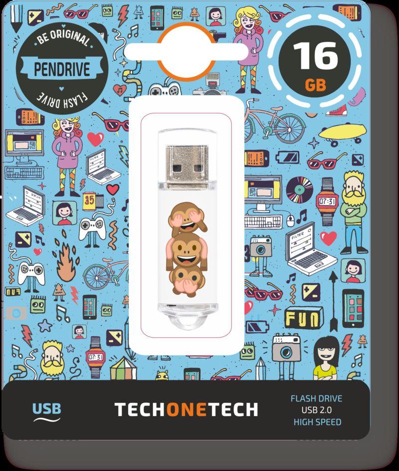 BE ORIGINAL * MEMORIA USB 16GB 2.0 EMOJITECH NO-EVIL MONKEY