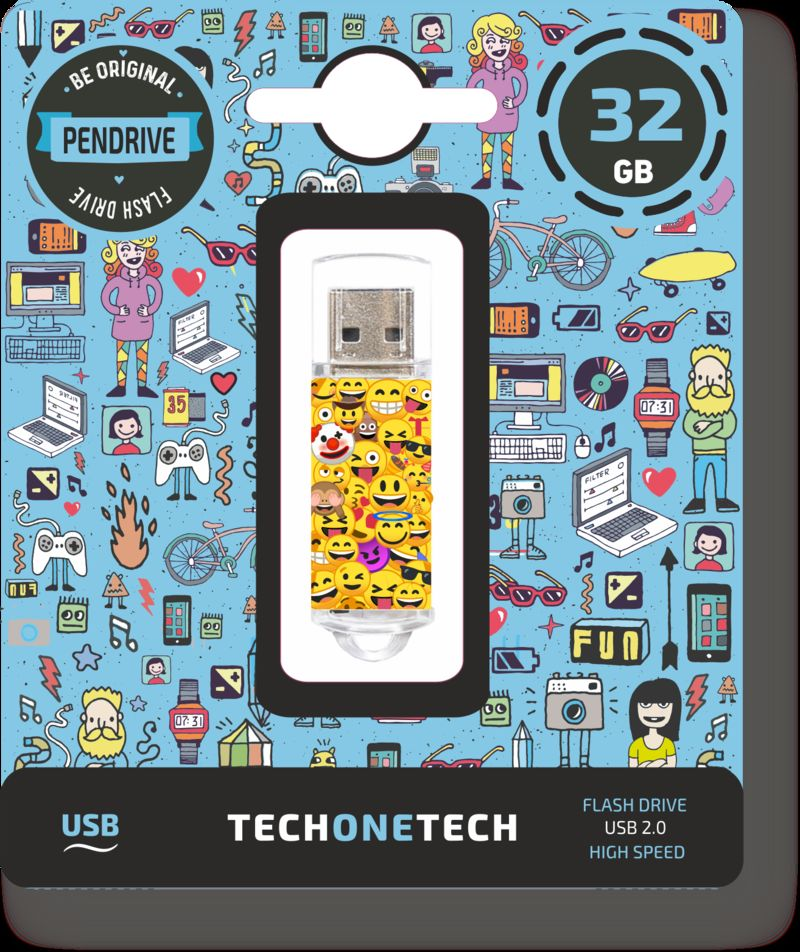 BE ORIGINAL * MEMORIA USB 32GB 2.0 EMOJITECH EMOJIS