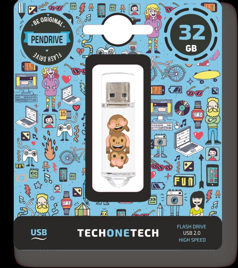 BE ORIGINAL * MEMORIA USB 32GB 2.0 EMOJITECH NO-EVIL MONKEY