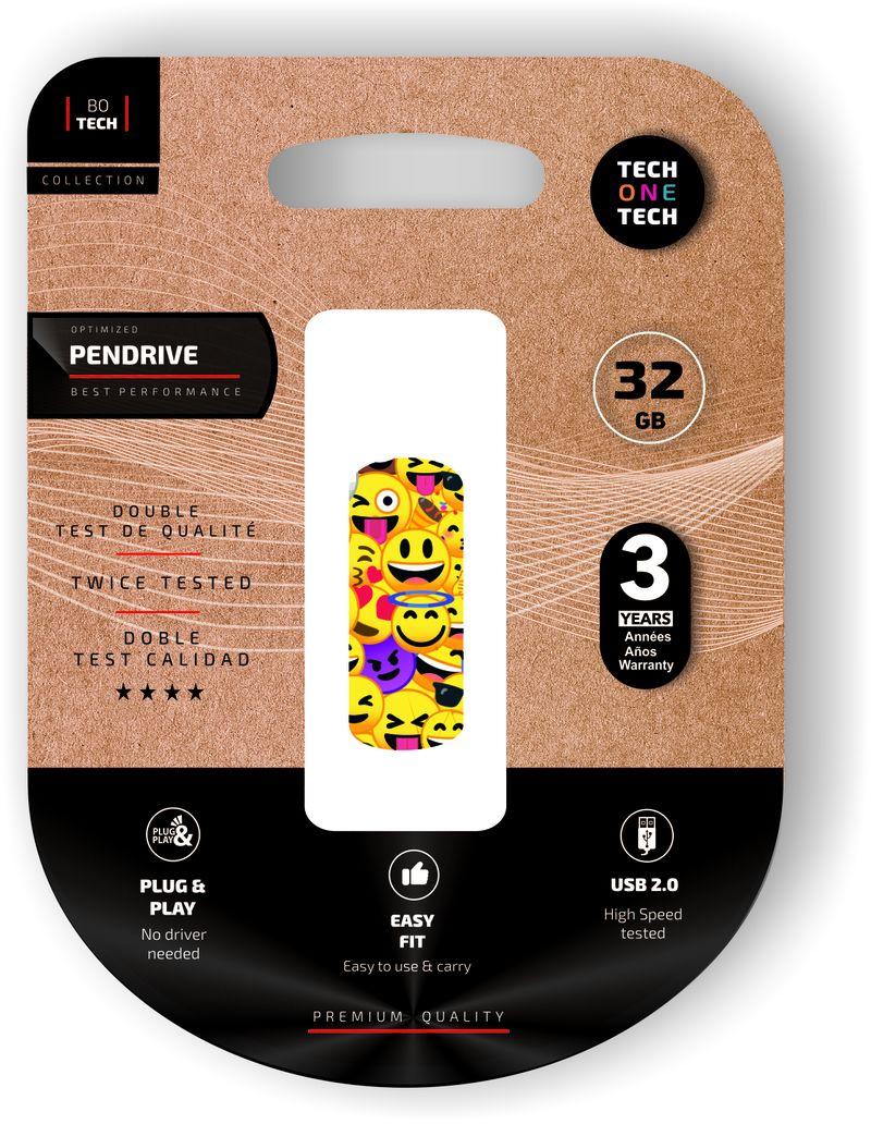 CLIP TECH * MEMORIA USB 32 GB EMOJI COLLAGE