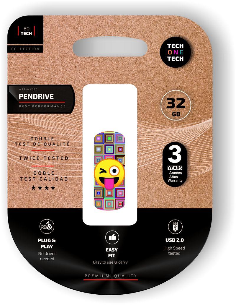 CLIP TECH * MEMORIA USB 32 GB EMOJI GUIÑO