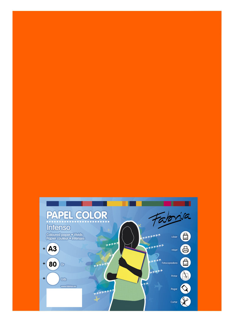 PAQ / 500H PAPEL 80G A3 NARANJA