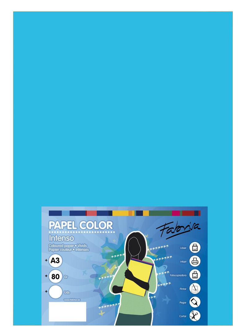 PAQ / 500H PAPEL 80G A3 AZUL TURQUESA