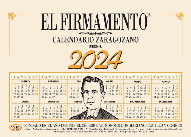 2021 - CALENDARIO ZARAGOZANO MESA - EL FIRMAMENTO