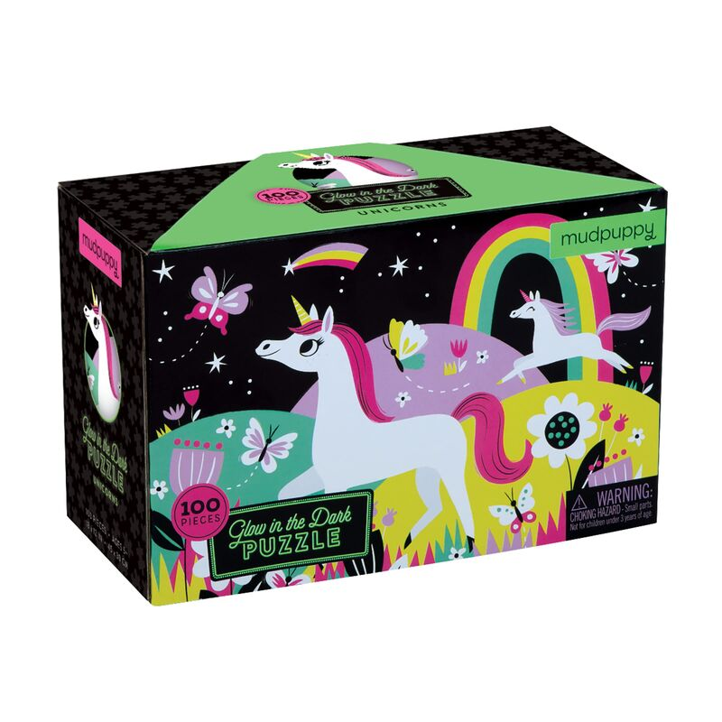 PUZZLE 100PC GLOW IN DARK UNICORNS